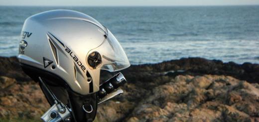 AGV Blade Motorcycle Helmet by the sea.