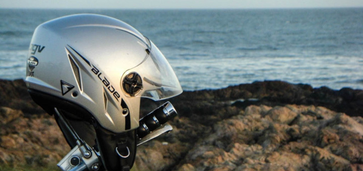AGV Blade Motorcycle Helmet by the sea.