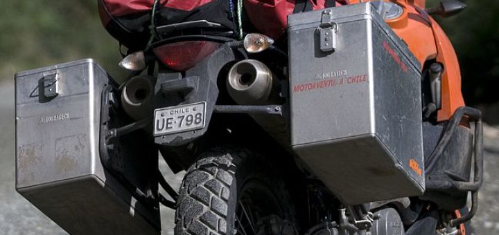 Motorcycle panniers and duffel bag on a KTM