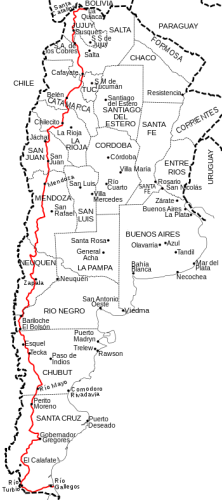 Map of the Argentine Ruta 40