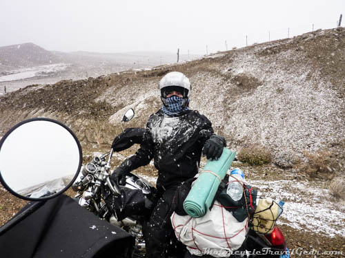 Riding motorcycles in the snow.