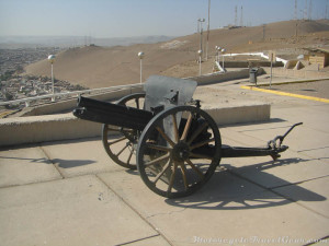 Chilean cannon at the top of the hill.