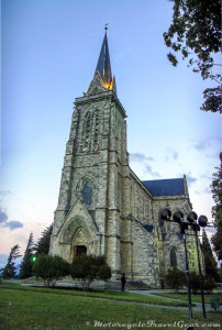 Bariloche Cathedral at dusk.