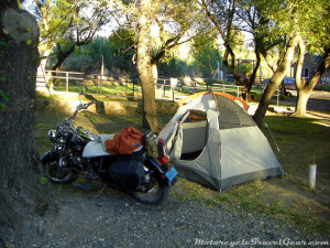 The tent and the bike survived the night.